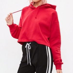 Missguided Red Cropped Hoodie